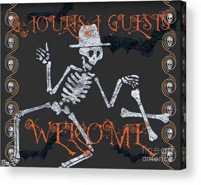 Halloween Acrylic Print featuring the painting Welcome Ghoulish Guests by Debbie DeWitt