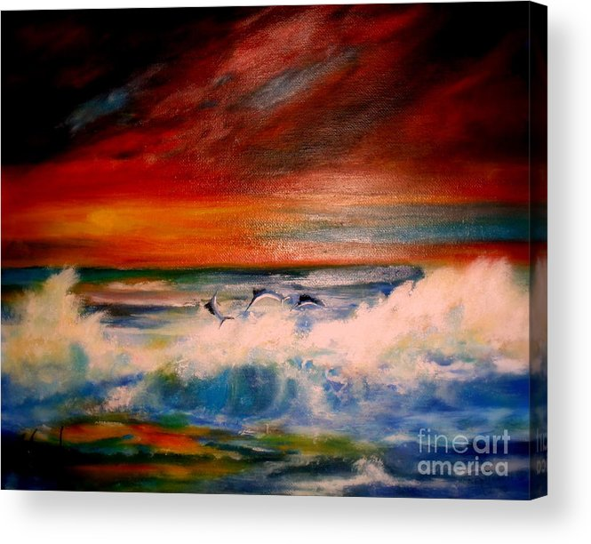 Sunset Acrylic Print featuring the painting Where Sailfish Play by Judith Allison