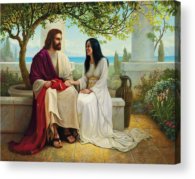 Jesus Acrylic Print featuring the painting White As Snow by Greg Olsen