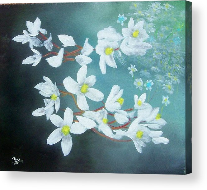 Flowers Acrylic Print featuring the painting White Flowers by Tony Rodriguez