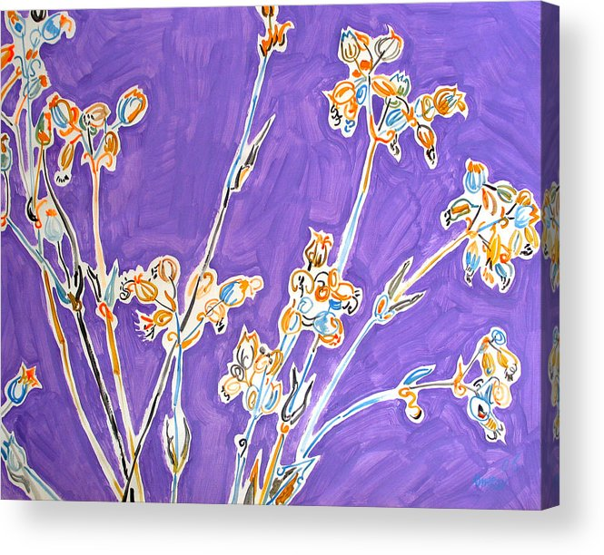 Wild Acrylic Print featuring the painting Wild Flowers On Lilac by Vitali Komarov