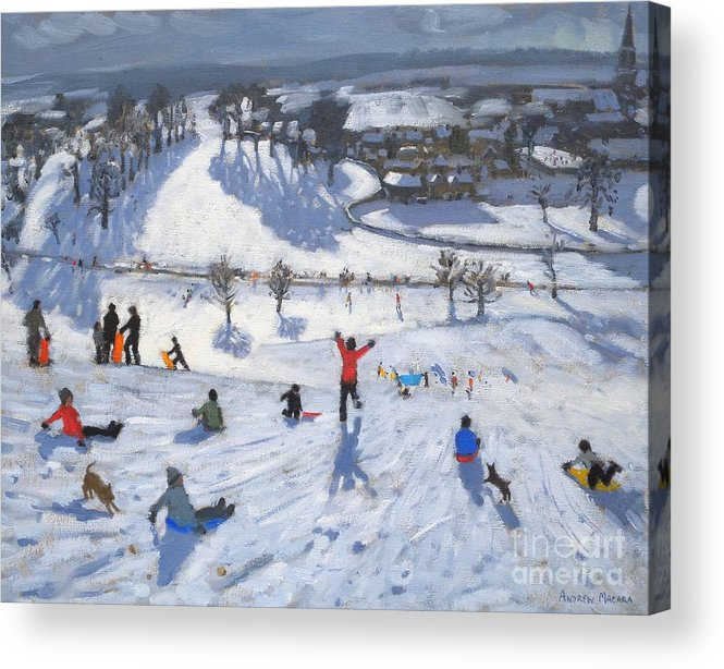 Winter Fun Acrylic Print featuring the painting Winter Fun by Andrew Macara