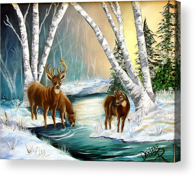 Winter Acrylic Print featuring the painting Winter Morning Walk by Darlene Green