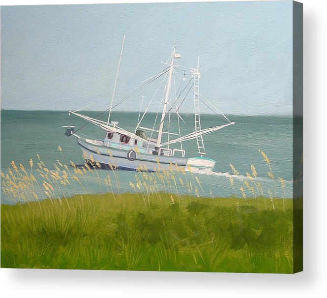 Shrimp Boat Acrylic Print featuring the painting Working In Close by Robert Rohrich
