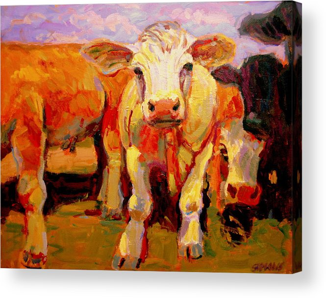 Cows Acrylic Print featuring the painting Young Cow by Brian Simons