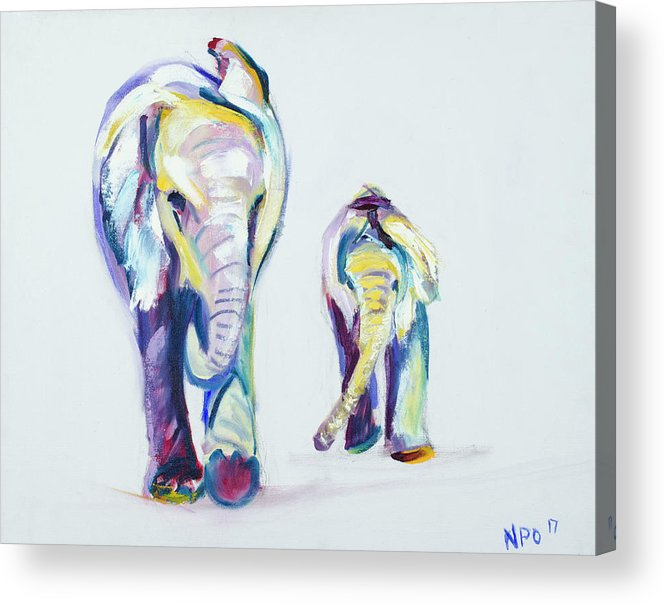 Elephants Acrylic Print featuring the painting Elephants Side By Side by Nickie Perrin Paintings