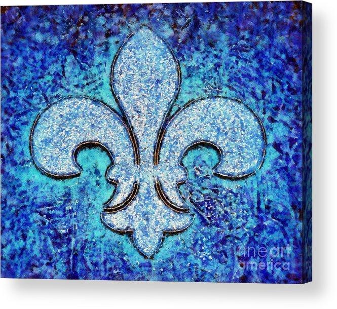 Fleur De Lis Acrylic Print featuring the painting Fleur De Lis Blue Ice by Janine Riley