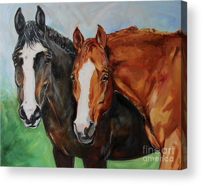 Horse Acrylic Print featuring the painting Horses In Oil Paint by Maria Reichert
