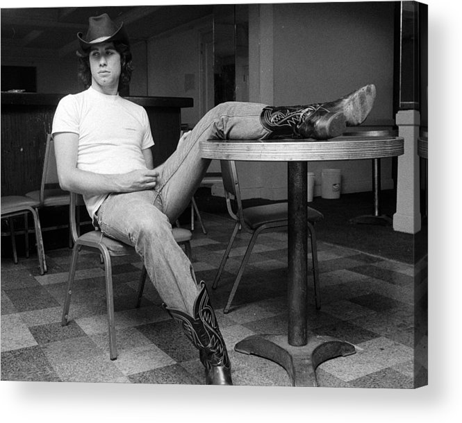 John Travolta Acrylic Print featuring the photograph John Travolta, With His Hat And Boots by New York Daily News Archive