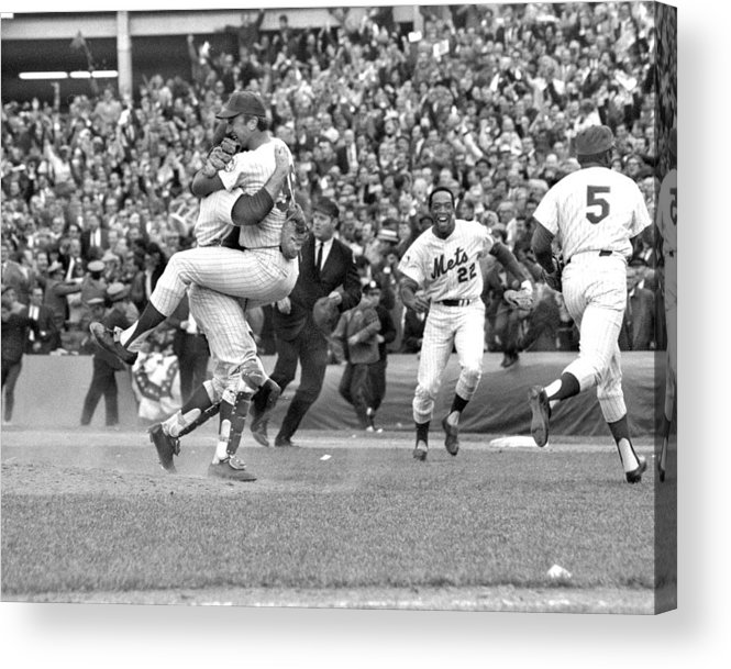 American League Baseball Acrylic Print featuring the photograph N.y. Mets Defeat The Baltimore Orioles by New York Daily News Archive