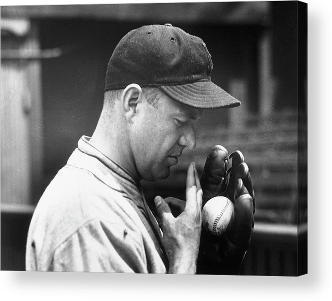 Spitting Acrylic Print featuring the photograph Pitcher Burleigh Grimes Demonstrating by Bettmann