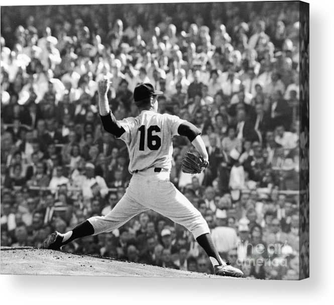 American League Baseball Acrylic Print featuring the photograph Whitey Ford Winds Up by Robert Riger