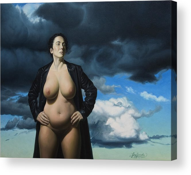 Female Nude Acrylic Print featuring the painting Just A Girl A Coat And Some Clouds by Gary Hernandez