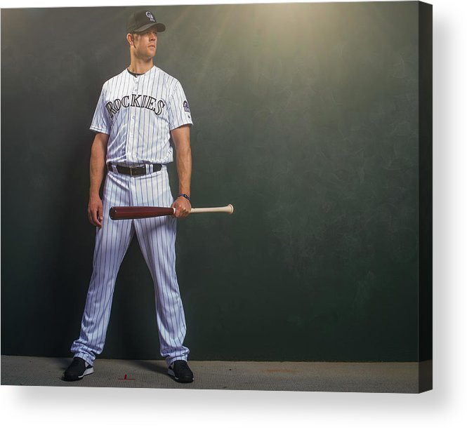 Media Day Acrylic Print featuring the photograph Justin Morneau by Rob Tringali