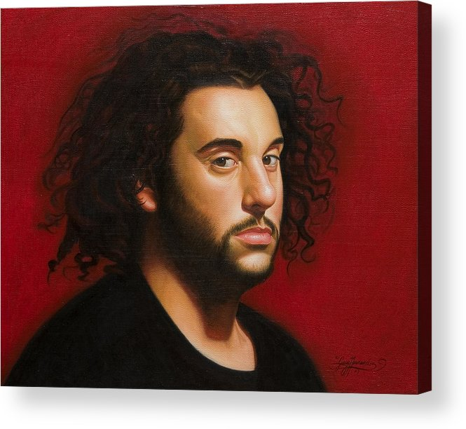 Portrait Of A Young Man Acrylic Print featuring the painting Young Man In Black by Gary Hernandez