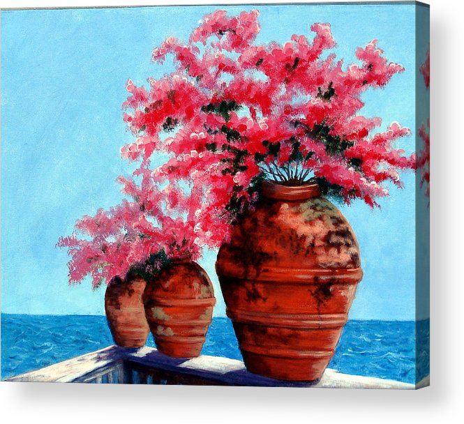 Bougainvillea Acrylic Print featuring the painting Bougainvillea by SueEllen Cowan