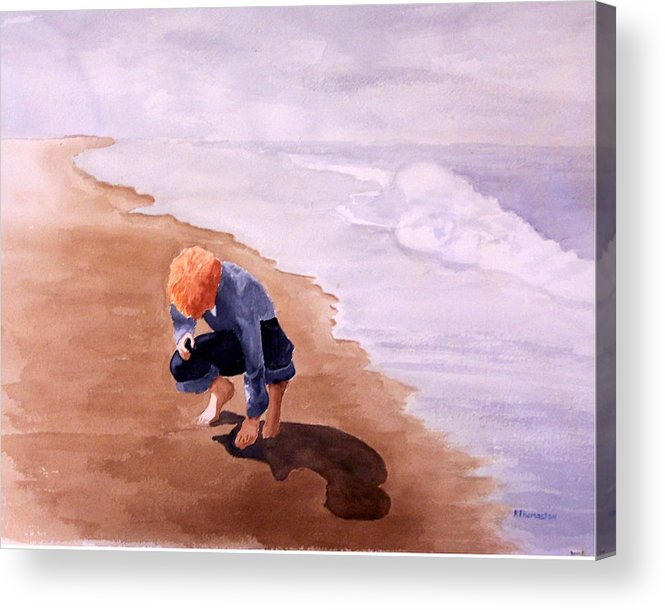 Family Acrylic Print featuring the painting Boy On The Beach by Robert Thomaston