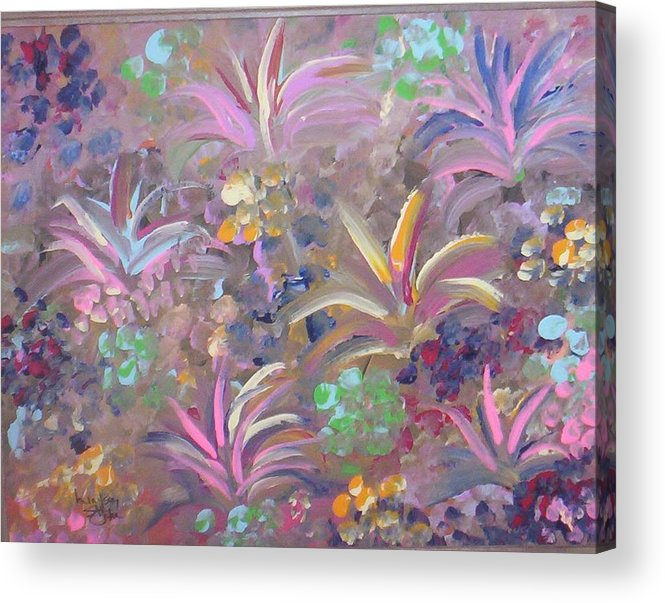 Landscape Acrylic Print featuring the painting Flowers In Spring by Lindsay St john
