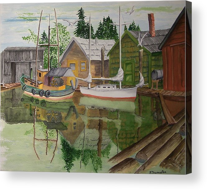 Landscape Acrylic Print featuring the painting lake Union Seattle by Robert Thomaston