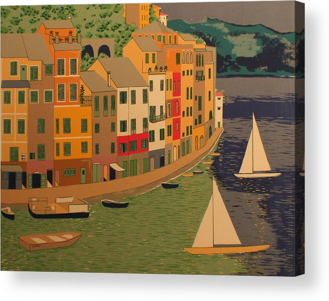 Harbor Acrylic Print featuring the painting pORTOFINO by Biagio Civale