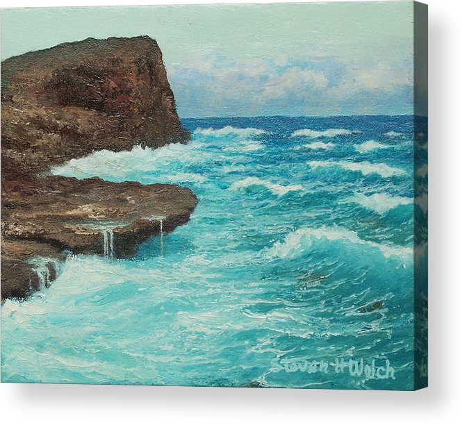Hawaii Seascape Acrylic Print featuring the painting Rocky Point by Steven Welch