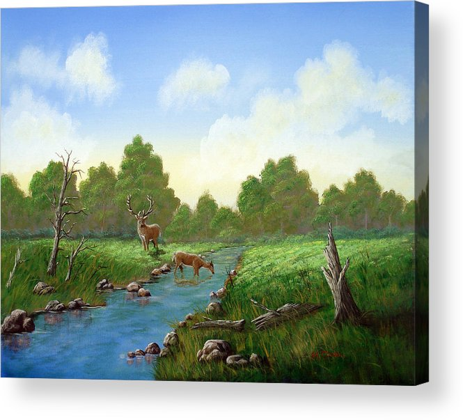 Landscape Acrylic Print featuring the painting Standing Guard by SueEllen Cowan