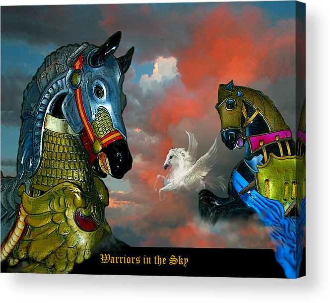 Horses Acrylic Print featuring the digital art Warriors In The Sky by Bette Gray