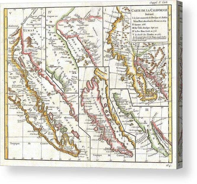 1772 Vaugondy Diderot Map Of California In Five States California As Island Acrylic Print