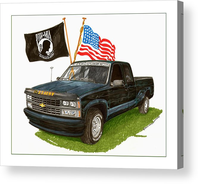 1988 Chevrolet Silverado Missing In Action Tribute Acrylic Print featuring the painting 1988 Chevrolet M I A Tribute by Jack Pumphrey