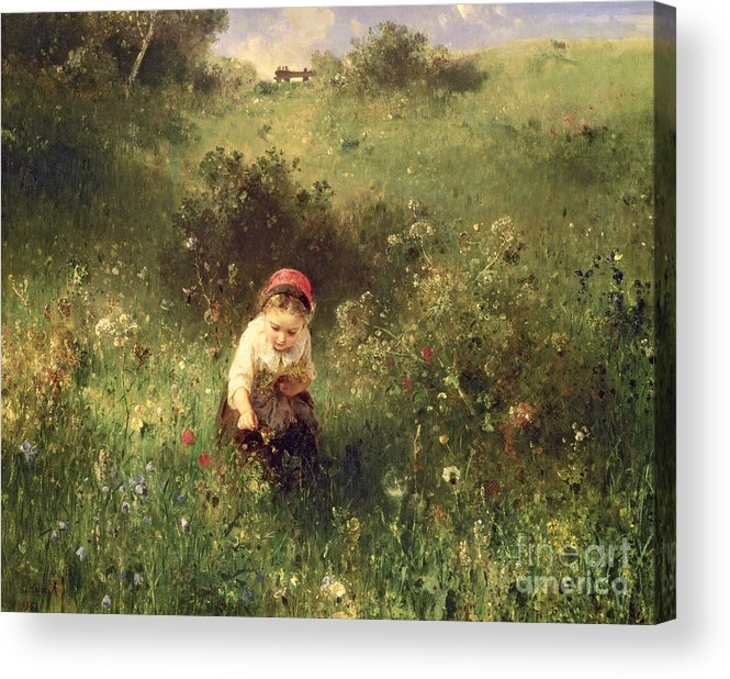 Wild Flowers; Solitude Acrylic Print featuring the painting A Young Girl In A Field by Ludwig Knaus