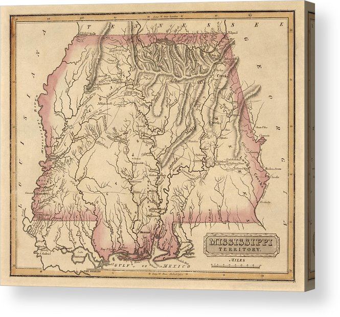 Antique Map Of Alabama And Mississippi By Fielding Lucas - Circa 1817  Acrylic Print