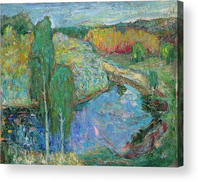 Landscape Acrylic Print featuring the painting Birches by Evgen Bondarevskiy