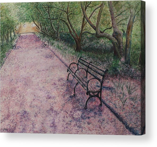 Cherry Blossoms Acrylic Print featuring the painting Cherry Blossom Pathway by Patsy Sharpe