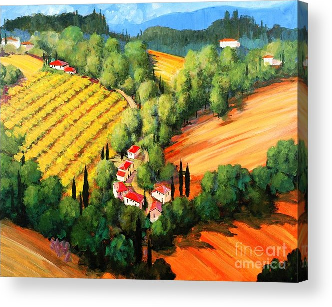 Chianti Landscape Acrylic Print featuring the painting Chianti Road by Michael Swanson