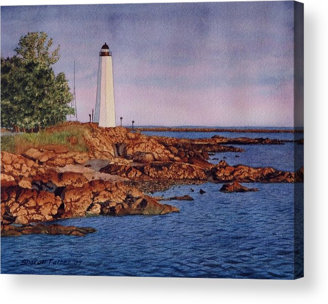Lighthouse Acrylic Print featuring the painting Five Mile Point Lighthouse by Sharon Farber