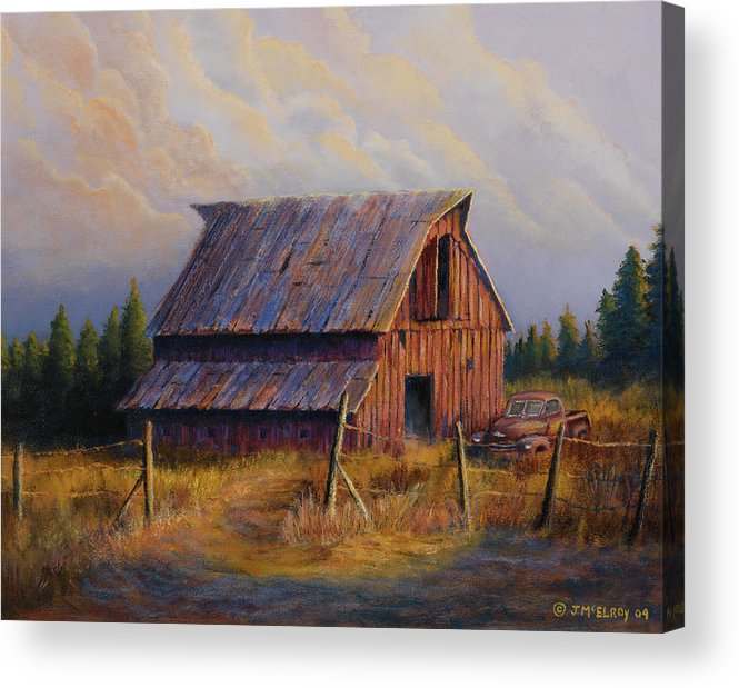 Barn Acrylic Print featuring the painting Grandpas Truck by Jerry McElroy