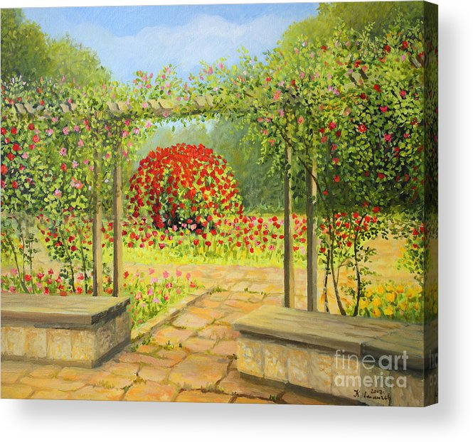 Art Acrylic Print featuring the painting In The Rose Garden by Kiril Stanchev