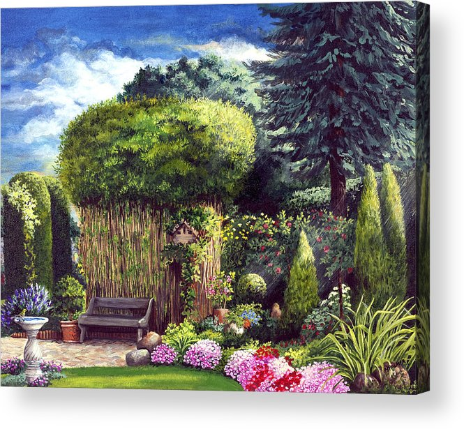 Garden Path Acrylic Print featuring the painting Joy's Garden by Mary Palmer