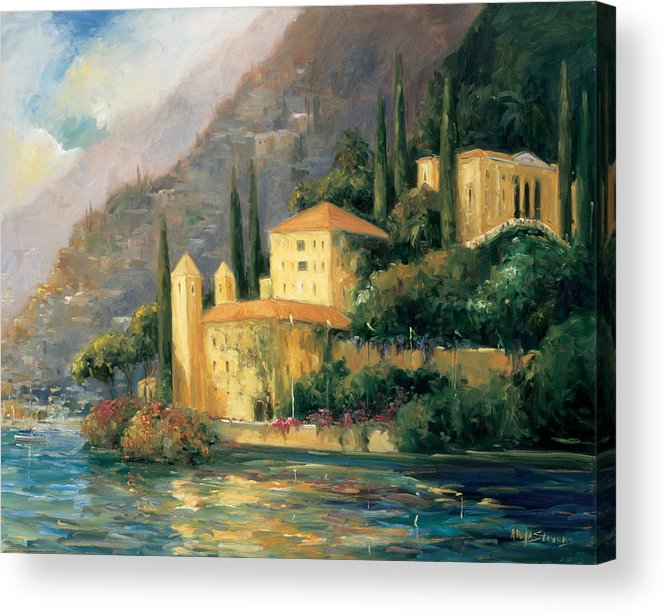 Landscapes Acrylic Print featuring the painting Lake Villa by Allayn Stevens