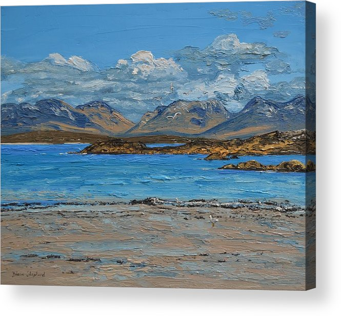 Mannin Bay Acrylic Print featuring the painting Mannin Bay And The Twelve Bens Mountains Connemara Ireland by Diana Shephard