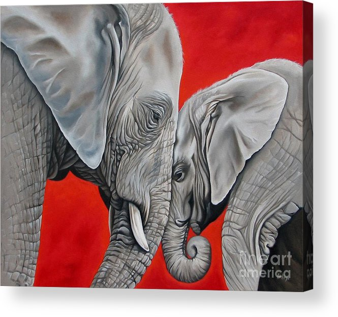 Elephant Acrylic Print featuring the painting Mothers Love by Ilse Kleyn