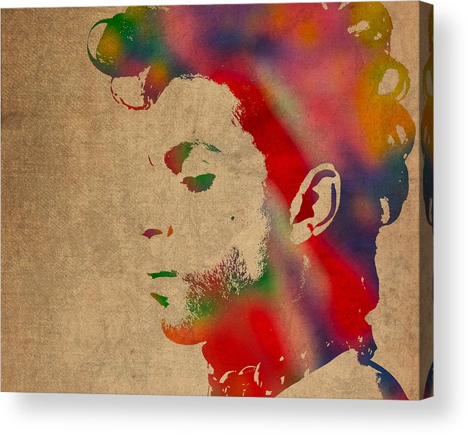 Prince Acrylic Print featuring the photograph Prince Watercolor Portrait On Worn Distressed Canvas by Design Turnpike