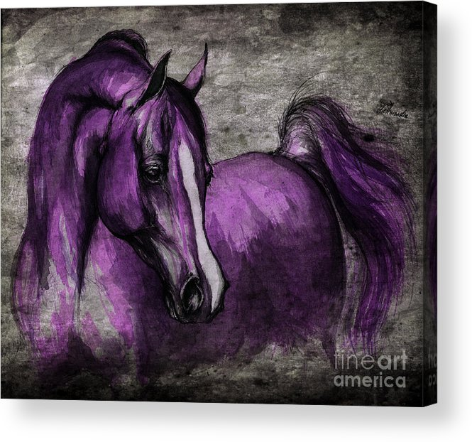 Horse Acrylic Print featuring the painting Purple One by Angel Tarantella