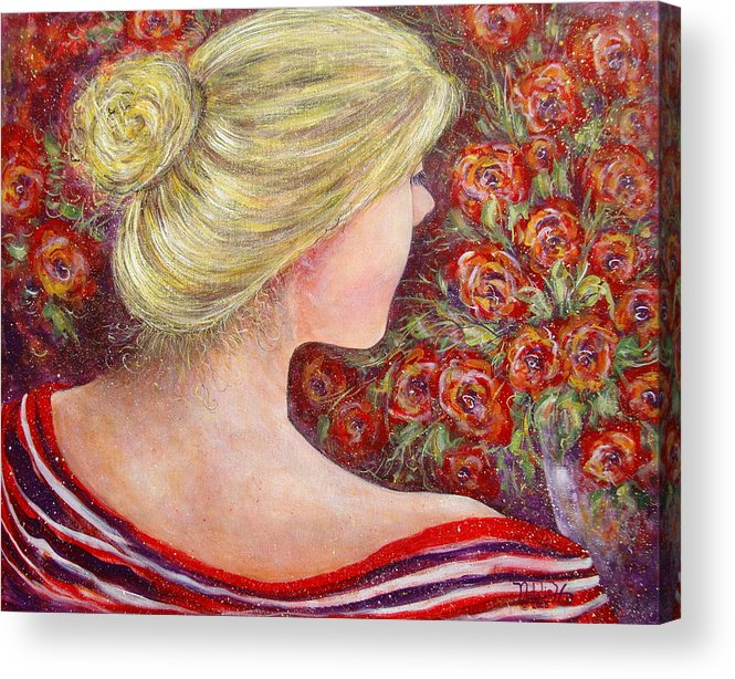 Female Acrylic Print featuring the painting Red Scented Roses by Natalie Holland