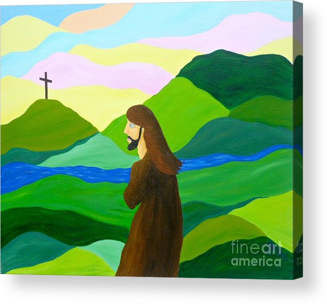 God Acrylic Print featuring the painting Risen A New Dawn by JoNeL Art