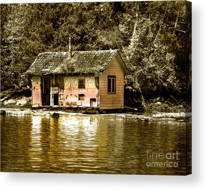 Sepia Acrylic Print featuring the photograph Sepia Floating House by Robert Bales