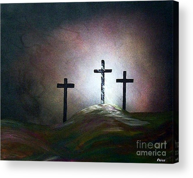 Jesus Acrylic Print featuring the painting Still The Light by Eloise Schneider