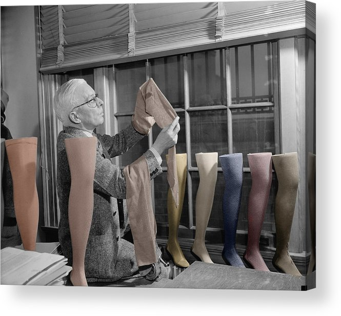 Hosiery Acrylic Print featuring the photograph Stocking Inspector by Andrew Fare