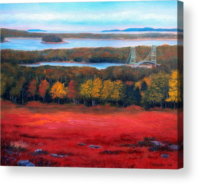 Maine Acrylic Print featuring the painting Stonington Bridge In Autumn by Laura Tasheiko