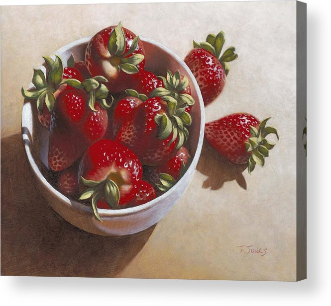 Strawberries Acrylic Print featuring the painting Strawberries In China Dish by Timothy Jones